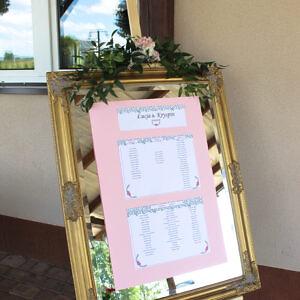 tablica powitalna, tablica rozmieszczenia gości, plan stolu