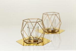 świecznik geometryczny złoty
